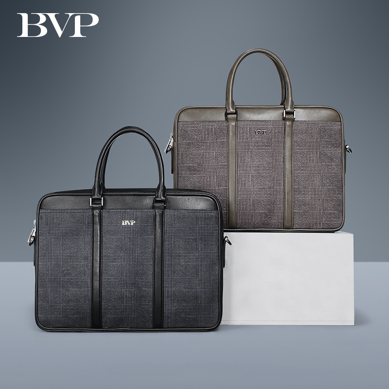 BVP Famous Brand Business Men Briefcase Bag Genuine Leather 13 Inch Laptop Bag Fashion Male Lattice Shoulder Bag Business J50