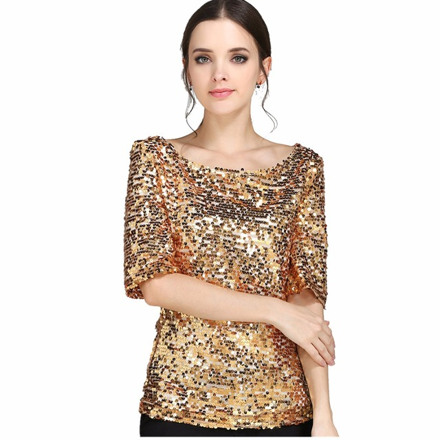 fa9f69560b4 Glistening Sequin Cocktail Club Party Top Shimmer Glam Glitter Plus Size T- Shirt Embellished Sparkle Short Sleeve Top Shirt 5817