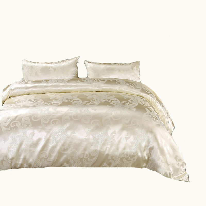 2018 NEW Jacquard Bedlinen Queen King Size Duvet cover Set Silk and Cotton Bedding Sets Luxury gold Colour UK FULL Size