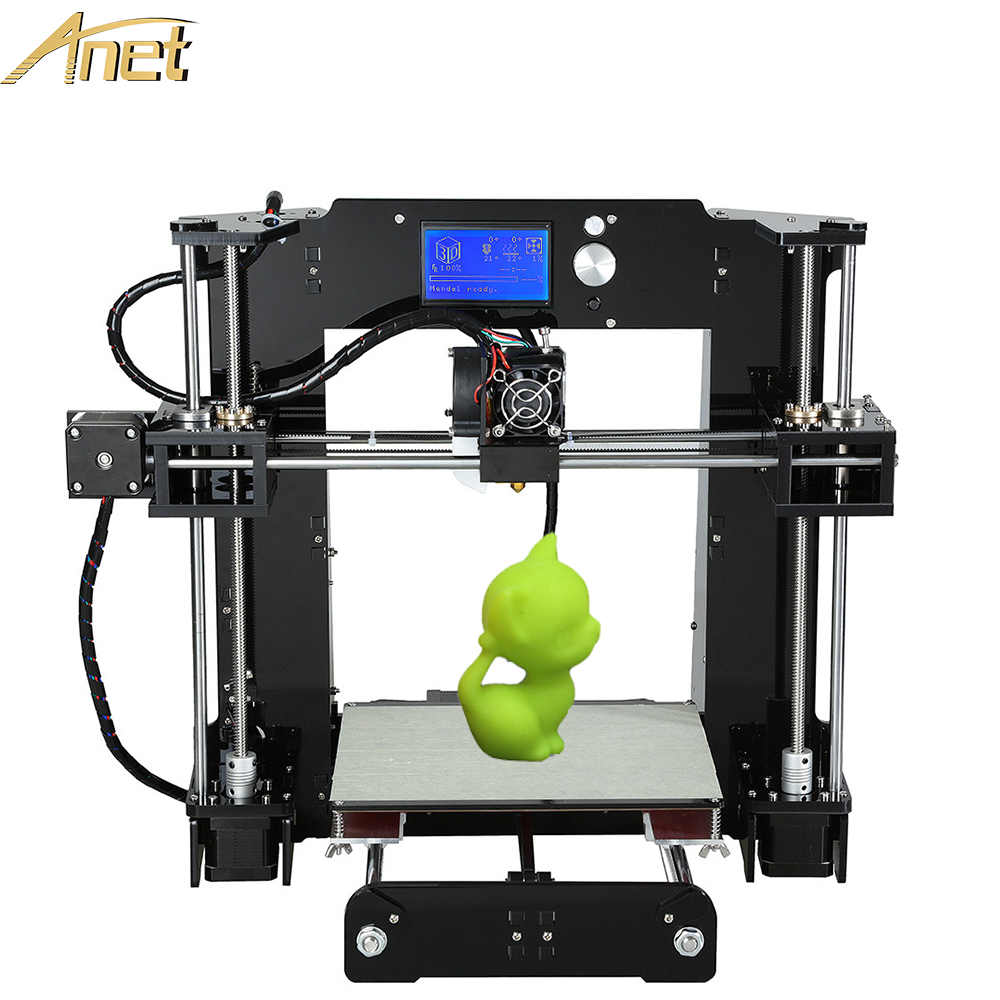 New Anet A6/A8 Aluminium Hotbed Precision Reprap Prusa i3 DIY 3d Printer Kit With Free 10m Filament Card Software