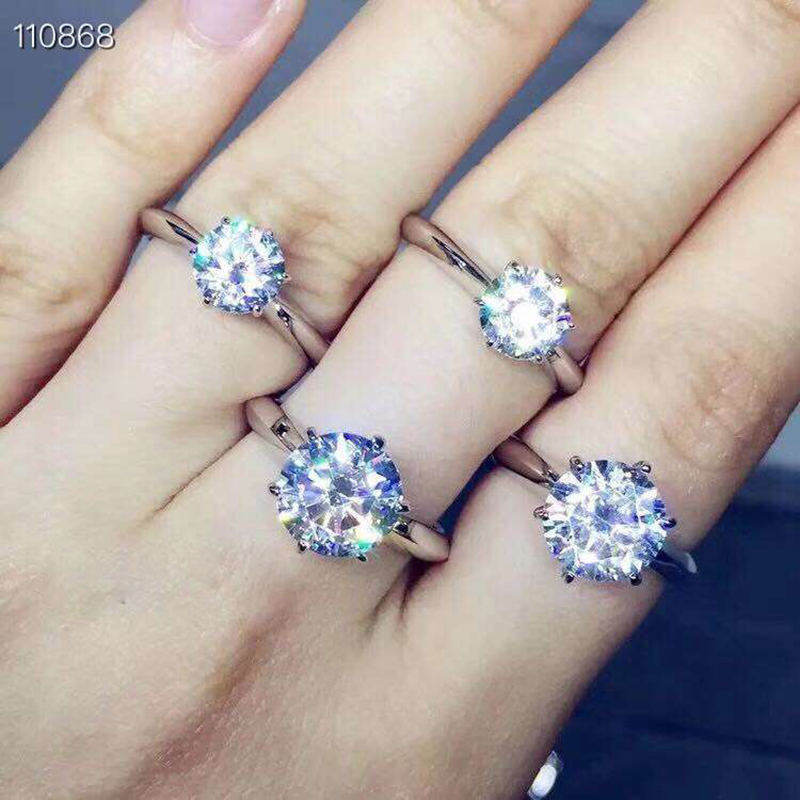 MeiBaPJ Glittering Natural Moissanite Gemstone Classic Simple 6 Claws Ring for Girl 925 Sterling Silver
