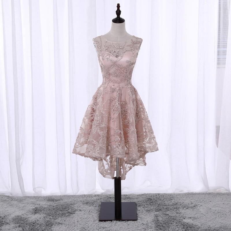 2019 Vestido De Festa Simple Pink Scoop High Low Lace   Cocktail     Dresses   Cute Asymmetrical Prom   Dress   Formal Party Gowns Custom