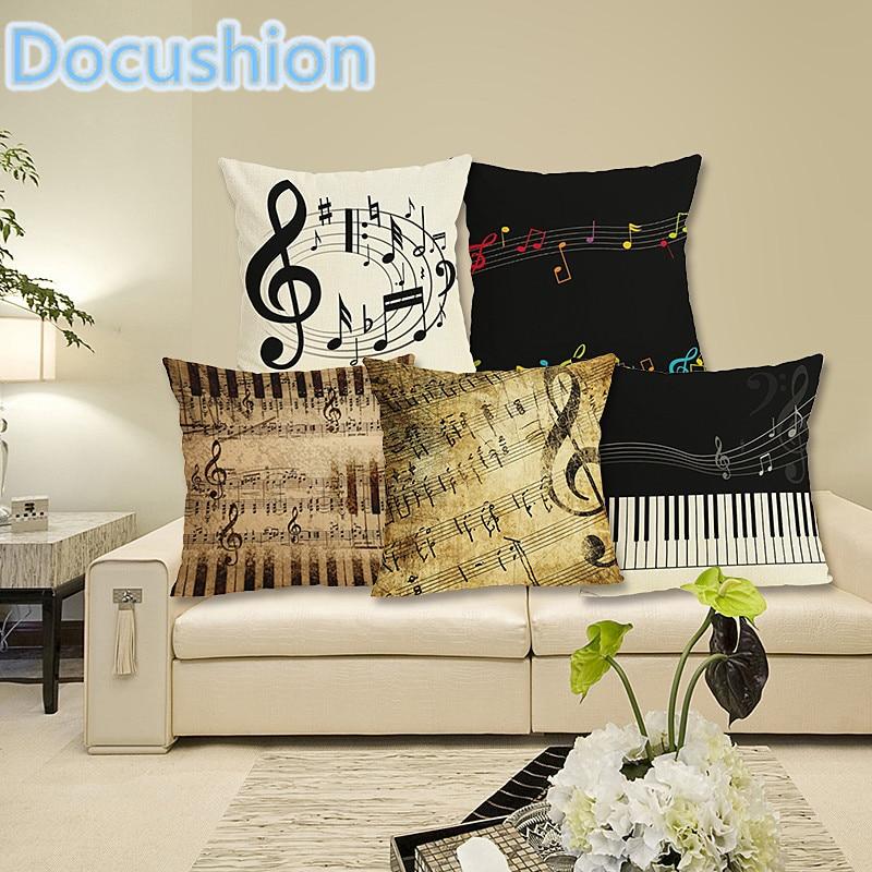 Serie de música Nota Funda de cojín impresa Lino Algodón Cuadrado - Textiles para el hogar