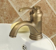 Antique Brass Bathroom Single Lever Handle Hot & Cold Basin Faucet Mixer Tap Cnf008