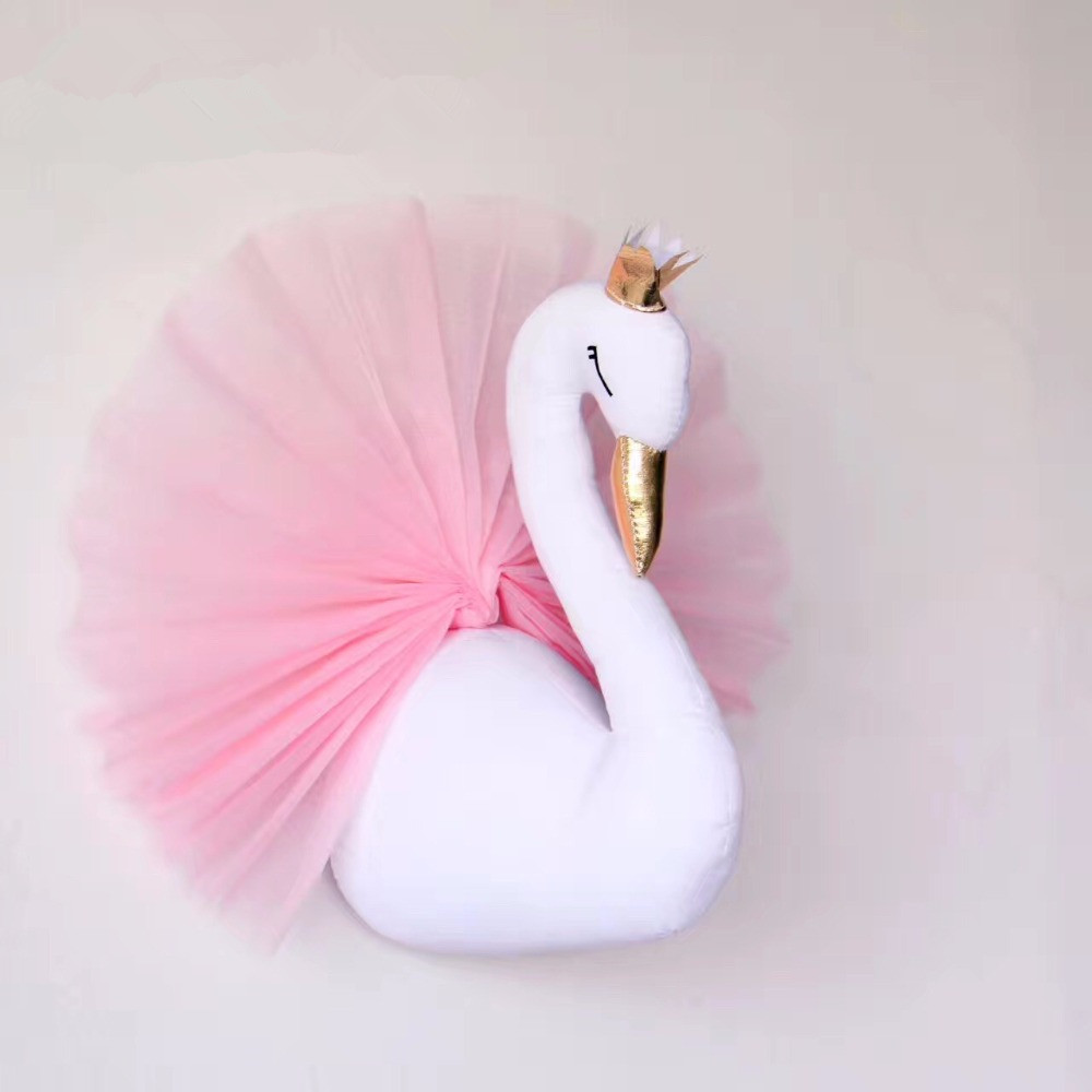 Pillow Rapture 3d Wall Hanging Decorations Cute Crown Swan Stuffed Dolls 40x54cm Bedroom Wall Hanging Deco Weddings Birthday Toys Gifts Elegant In Style