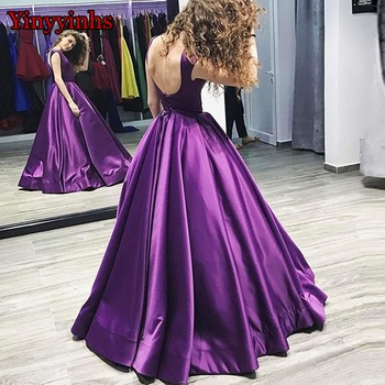 Women's A Line Long Evening Dresses Elegant Satin Vestido De Festa Strapless Party Formal Prom Pageant Ball Gowns Lace Up Corset