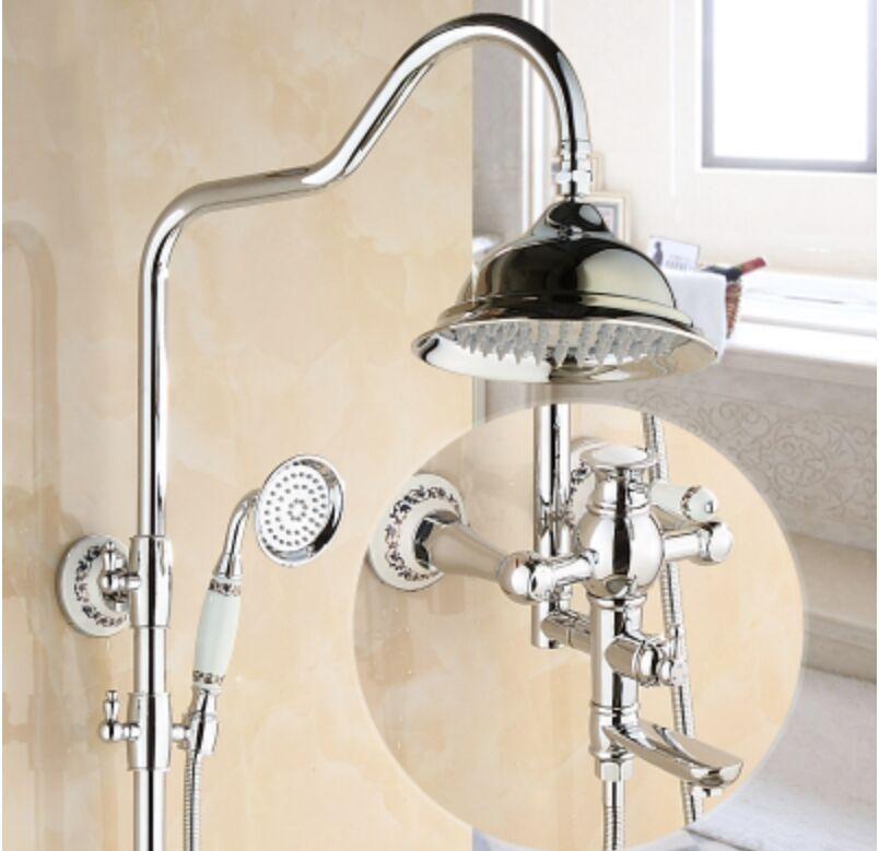 European Health Restroom Room Bath Shower Set Lifting Rotary Copper Faucet Shower Head Pressure Booster Chrome Finish Shower Set