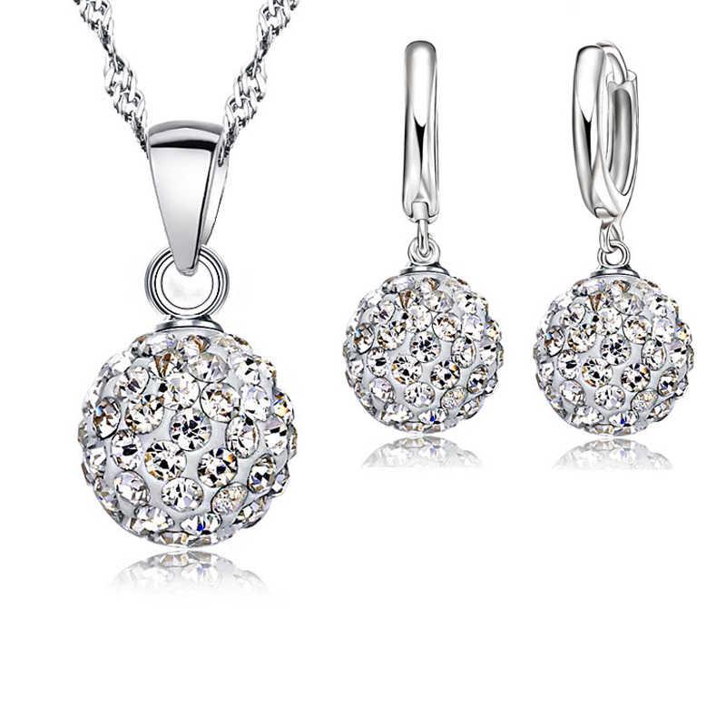 925 silber Schmuck Sets Rhinstone CZ Kristall Disco Ball Anhänger Halskette Ohrringe Für Frauen Geschenk Hochzeit Zubehör