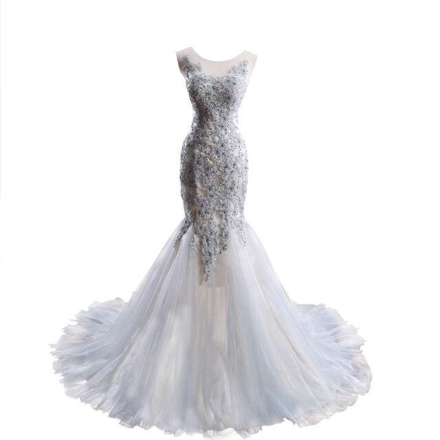 silver grey wedding dresses 2017 mermaid bridal gowns vestidos de ...