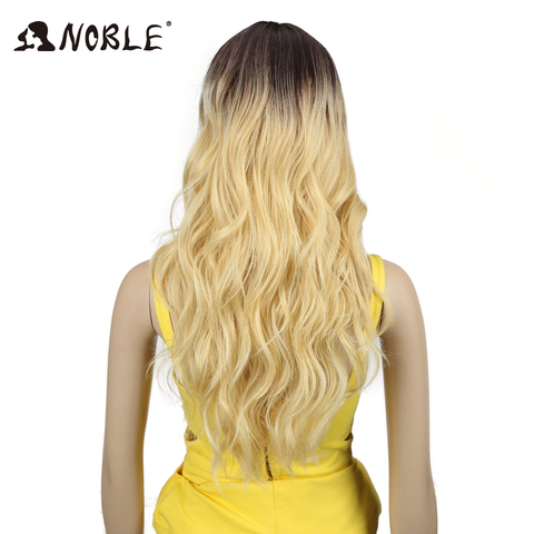 Noble T Part Lace Front ombre blonde Wig 24 Inch Long Wavy Synthetic Wigs Full I Part Wigs 4 Colors Choice Free Shipping Islamabad