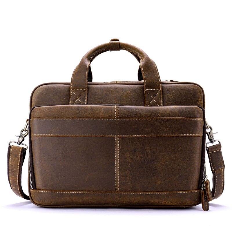 Männlichen Vintage Laptop tasche Büro Leder Männer Schulter Brown Tasche Business Umhängetasche Totes Aktentasche Crossbody Handtaschen Arbeit YYT7Rqa