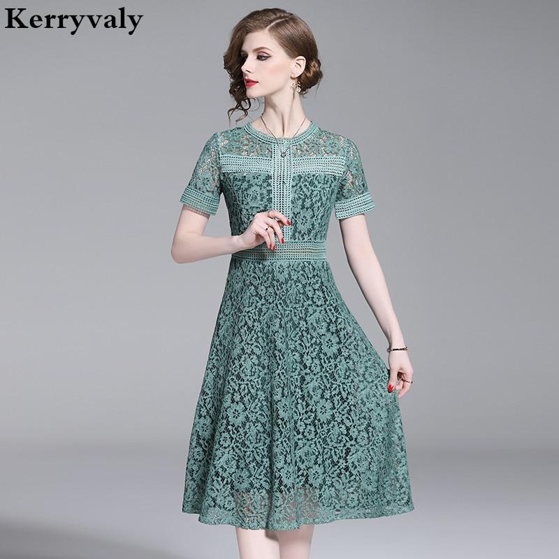 cae99ddb980c78d Новый выдолбленные зеленое кружевное Для женщин летнее платье zomerjurk  Dames 2019 миди вечерние платье Robe BLANCHE