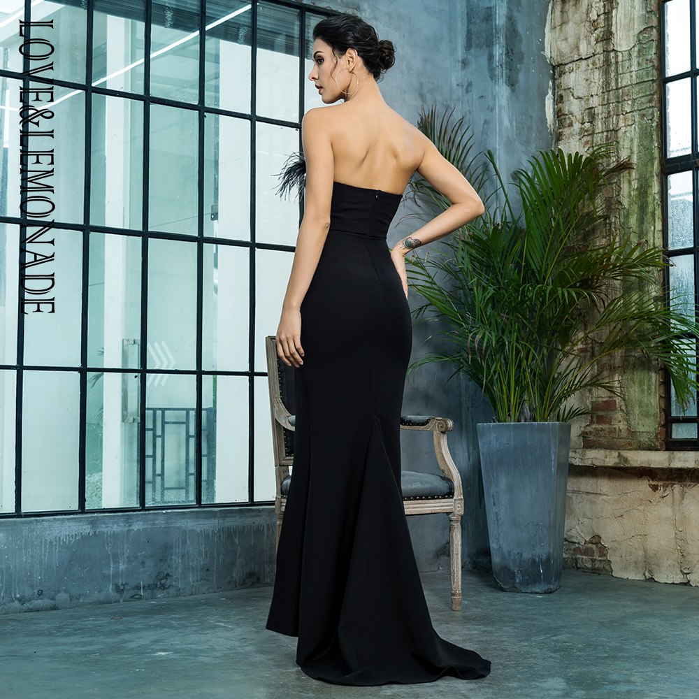 Love&Lemonade Black Strapless Cut Out Feather Long Dress LM81481