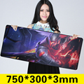 Size750mm grande 300mm 3mm League of Legends Yasuo grande Mouse pad Teclado estera Antideslizante Almohadilla De Goma LOL gaming Mouse pad