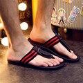 Moda de verano de los hombres sandalias casuales zapatos de los hombres para los hombres zapatillas planas flip flop al aire libre Negro Blanco Azul envío gratis