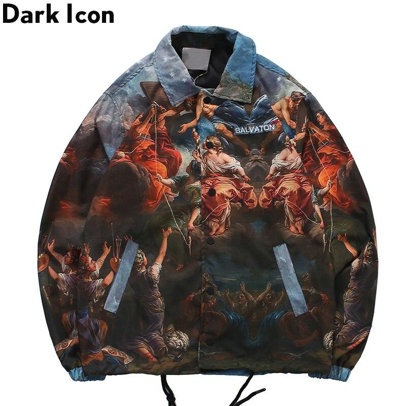 Dark Icon Turn-down Collar Japanese Jacket Men Full Printed Street Men's Jacket Streetwear Clothing