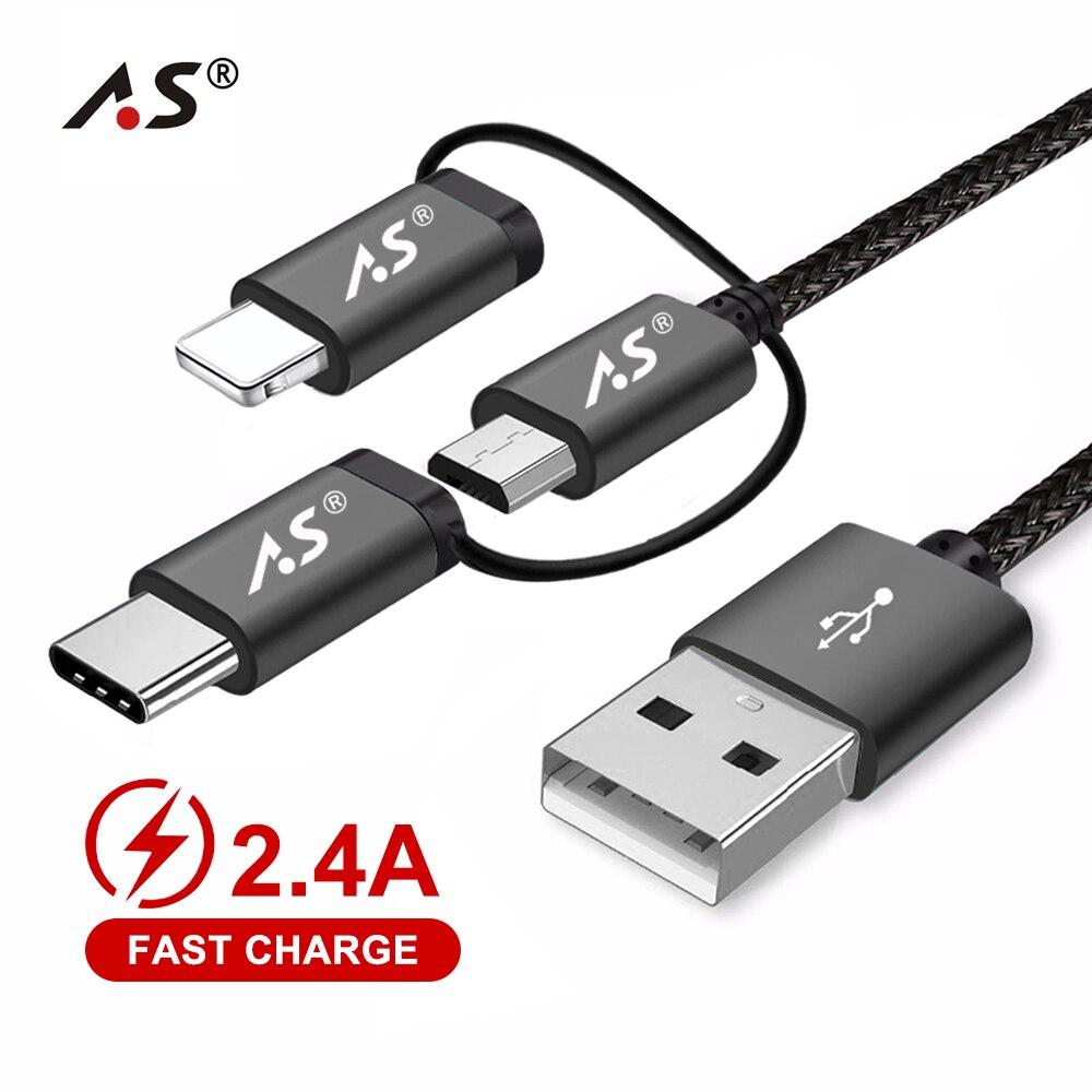 A.S 3in1 Cabo de Dados USB Do Telefone Móvel para o iphone Tipo C Cabo do Carregador Micro USB para Xiaomi Huawei Samsung Rápido cabo de carregamento 3M