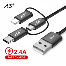 A.S 3in1 Mobile Phone USB Data Cable for iPhone Micro USB Ty
