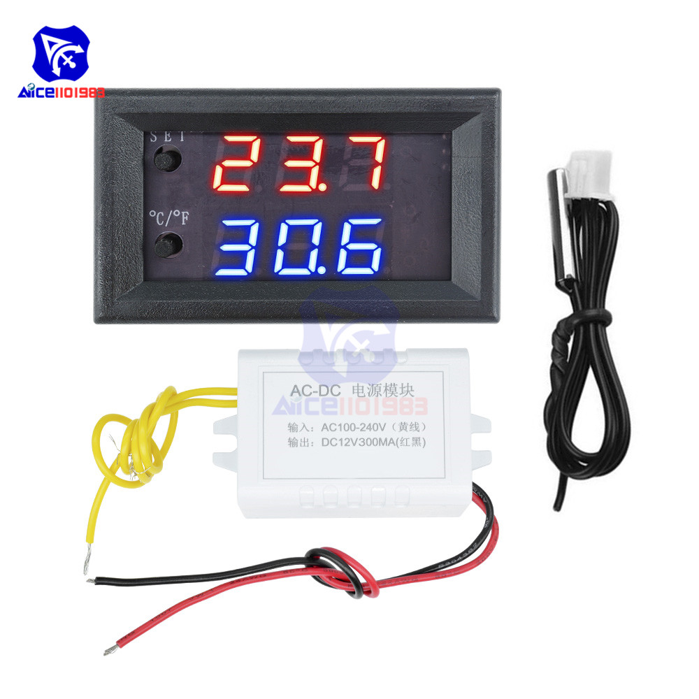 W1209WK 12V 220V LED Digit Thermostat Temperature Controller Thermometer Celsius/Fahrenheit Switch Module with NTC Sensor Probe 5