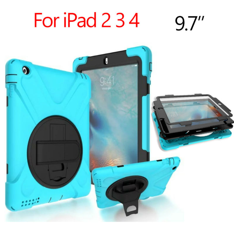 For iPad 2 3 4 Heavy Duty Tablet Case Fundas PC Silicon Armor Full Body Cases Cover for Apple iPad 4 3 2 Protective Stand Holder shockproof case for ipad pro 10 5 military duty armor kickstand pc silicone stand cover case for apple ipad pro 10 5 inch tablet