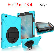 For iPad 2 3 4 Heavy Duty Tablet Case Fundas PC Silicon Armor Full Body Cases Cover for Apple iPad 4 3 2 Protective Stand Holder