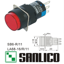 Interruptor de botão momentâneo circular xb6ea41 la68 las1 lay sb616r/11 mola retorno 16mm