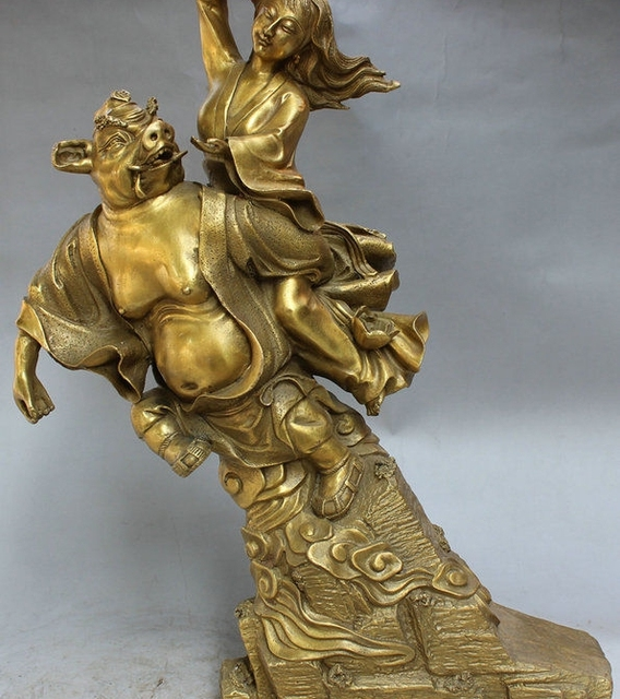 "18"" Chinese Brass Pig King Zhu Ba Jie God Carrying Belle Beauty Goddess Statue"