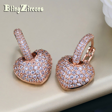 BlingZircons Women Rose Gold Color Paved Cubic Zirconia Circle Huggie Hoop Shape CZ Heart Stud Earrings For Girls Jewelry E057(China)