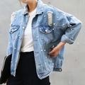 Corea Del sur Flojo Pin Agujero grano de la perla Tachonado Jeans agujero tendencias de la moda de las mujeres elegantes de mezclilla ripped SPSR predeterminado nave chaqueta