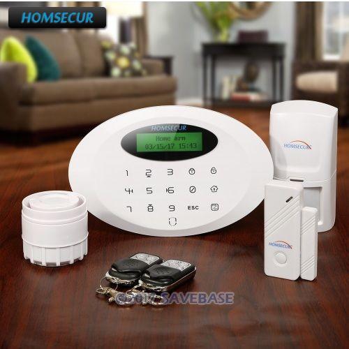 HOMSECUR Wireless&wired GSM Burglar Intruder Alarm System With Touch Keypad homsecur app controlled wireless gsm burglar intruder alarm system with 4 pet immune pir
