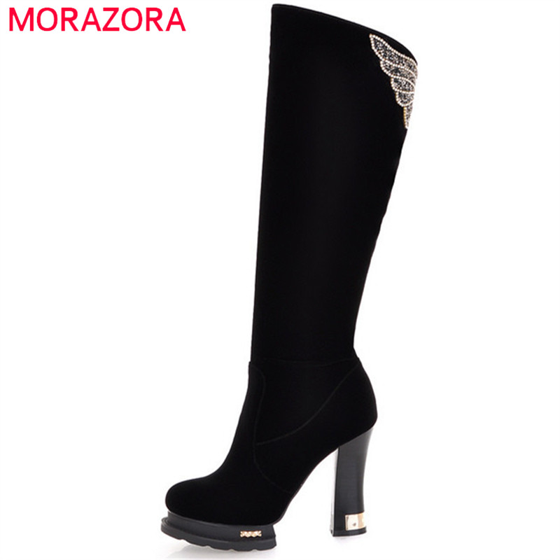 MORAZORA 2018 Hot sale knee high boots for women in autumn winter platform boots female high heels shoes woman fashion newest women half knee high motorcycle boots vintage chunky heels spring autumn outdoor platform shoes woman female boots