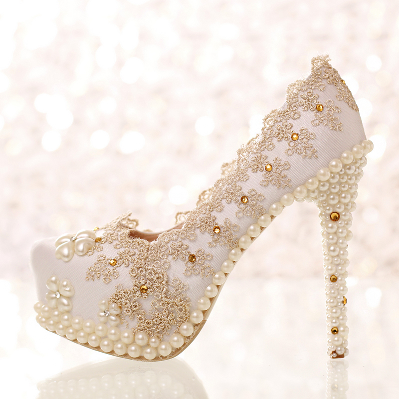Champagne color rhinestone lace bridal shoes ultra high heels thin heels shoes shallow mouth wedding shoes