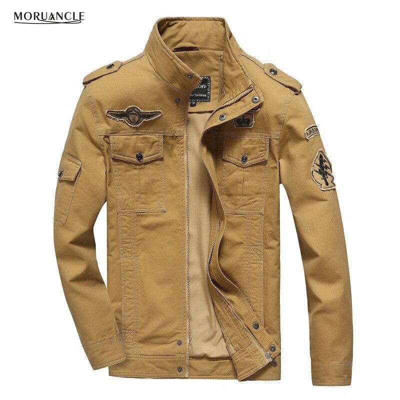 Moruancle Для Мужчин's Повседневное куртки-бомберы Демисезонный военные Стиль Куртка карго пальто с патчи плюс Размеры M-6XL хаки, черный