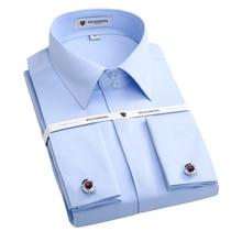 Heißer Verkauf Französisch Manschette Männer Hemd Mit Manschettenknöpfe Qualität Langarm Camisa Masculina Slim Fit Dress Shirt Marke Kleidung