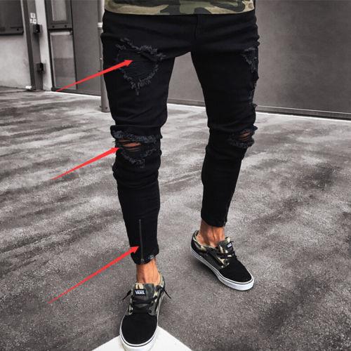 2018 Новые мужские джинсы модные мужские рваные джинсы скинни уничтожены Изношенные Slim Fit Denim молнии джинсы