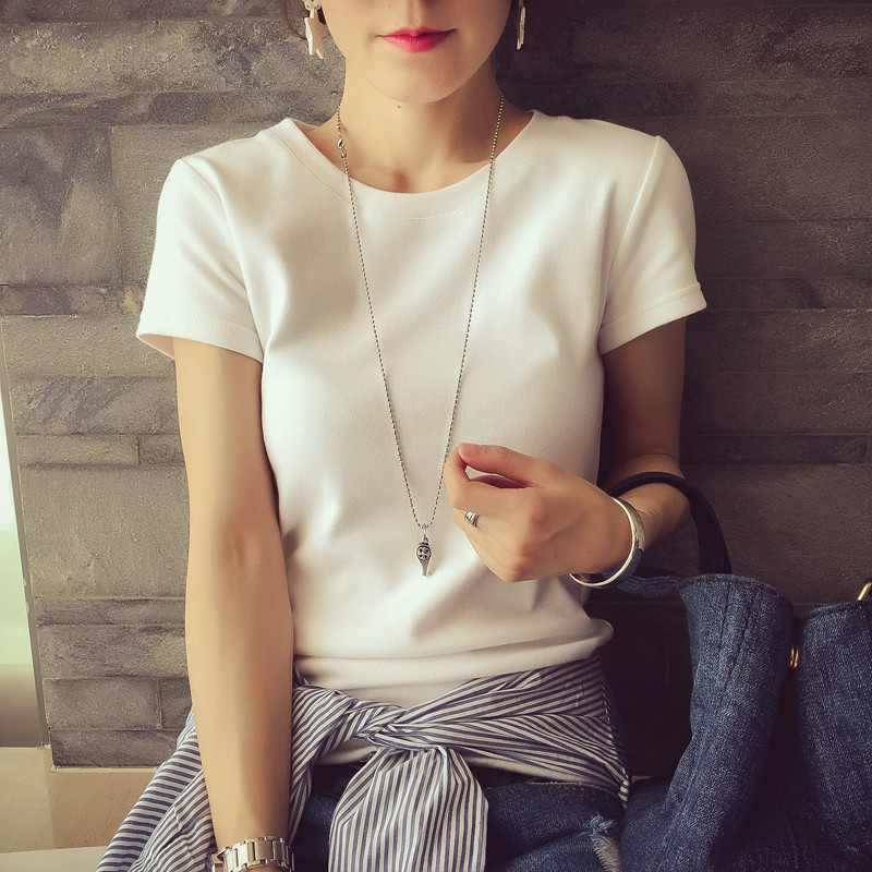 2018 Hot Sale Stretch Summer New Women T Shirts Ms Solid Color Short Sleeve tshirt Women's Fashion Cotton O-neck T-shirt