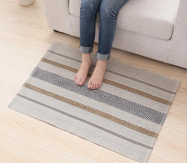 Modern Cotton Carpet Mat Rug Floor Living Room Bedroom Anti Slip Decorative