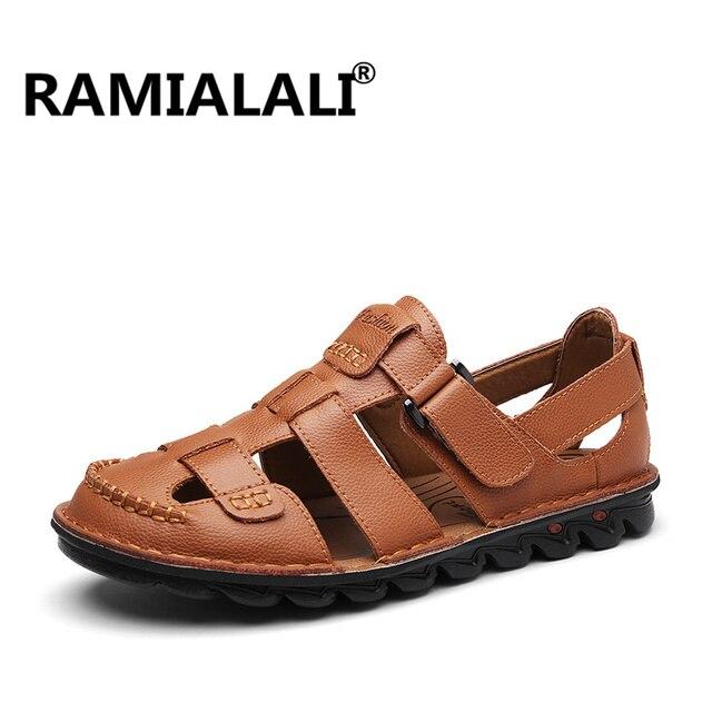 5b887dcd9 Ramialali New Fashion Summer Sandals 2018 Leisure Beach Men Shoes High  Quality Leather Sandals Beach Hollow Men s Sandals