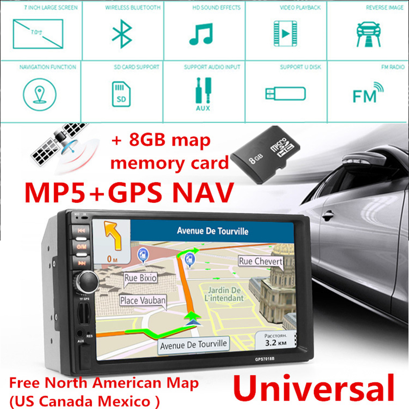 New 7 Inch 2Din Car Bluetooth MP5 Player HD Touch Screen Car MP5 Player Audio Video+8G Memory Card Free North American Map free shipping new black 4 3 inch hd touch screen rearview mirror abs car gps navigation navigator bluetooth 2 0 8gb au map tk102