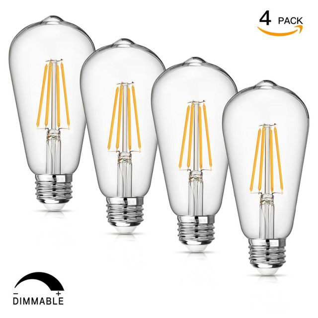 Led Edison Bulb Dimmable 8w Filament Light St64 840 Lumen 3000k Soft White 75