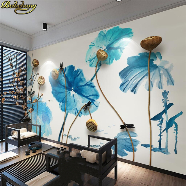 beibehang custom photo wallpaper mural wall sticker ink zen stereobeibehang custom photo wallpaper mural wall sticker ink zen stereo golden lotus mural background wall decorative