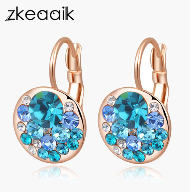 New 2018 Earring Cz Por Blue Stones Crystal Earrings For Women Fashion Flower Jewelry High