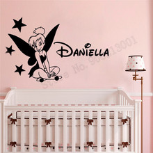 Tinkerbell Fairy Personalized Name Wall Sticker Removeable Vinyl Art Design Decor Beautiful Modern Ornament Decals Baby LY987