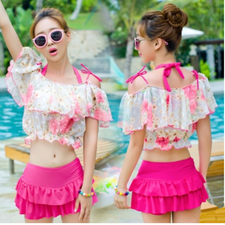 2017 Hot Boxers Skirt Push Up Bikini Set Floral Cover Up Three piece Suit swimsuit bathing suit for women girl swimwear 2017 boxers push up bikini set mesh lace red lip cover ups three piece suit swimsuit bathing suit for women girl swimwear