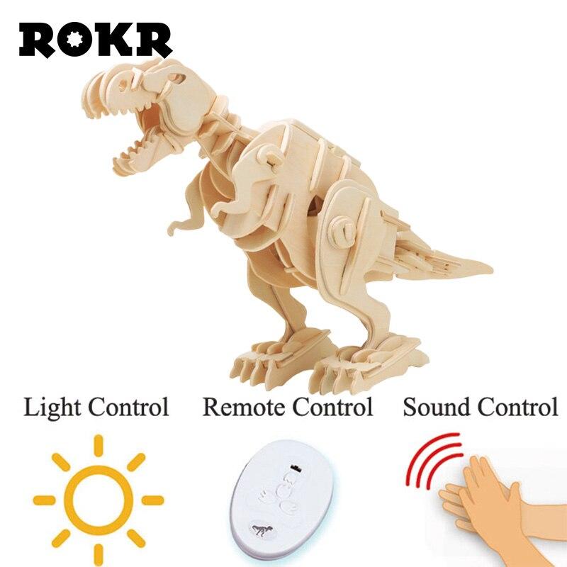 ROKR bricolage électrique t-rex dinosaure modèle 3D en bois Puzzle assemblage modèle Kit de construction jouets bois Puzzle pour enfants enfants D200