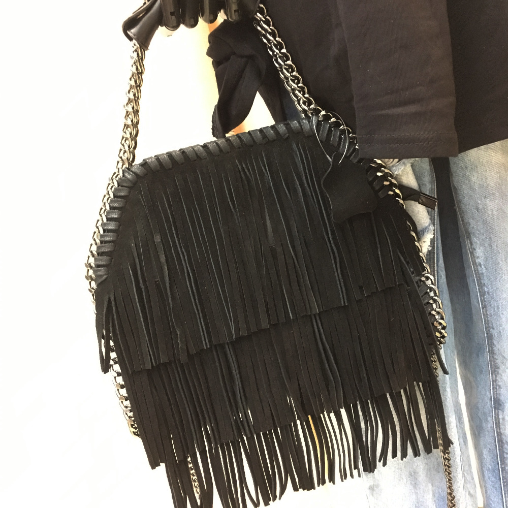 2016 Fall new suede fringed handbag European and American fashion shoulder Messenger bag Ms pu leather