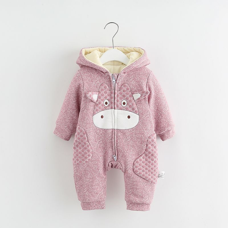 6M-18M Baby Clothing Baby Boy Romper Thickening Hooded Romper Cute Cartoon Cow Printing Rompers Baby Girl Clothes For Winter V20 6003 aosta betty baby rompers top quality cotton thickening clothes cute cartoon tiger onesie for baby lovely hooded baby winter
