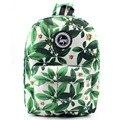 Wo weino 2016 Горячая Мужская печати листья рюкзаки mochila рюкзак моды холст сумки ретро случайный школьные сумки дорожные сумки