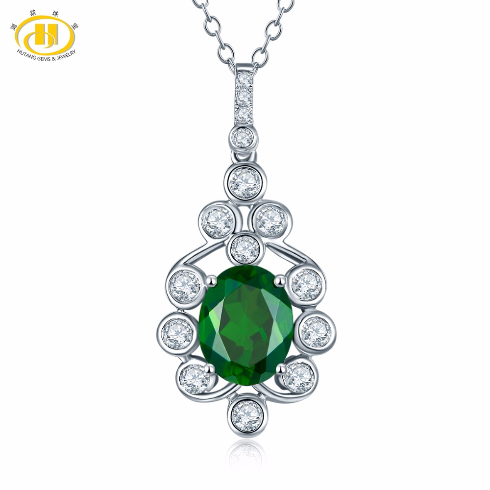 Hutang Natural Color Gemstone Chrome Diopside Solid 925 Sterling Silver Pendant & Necklace For Women's Girls' Fine Jewelry Gift цена и фото