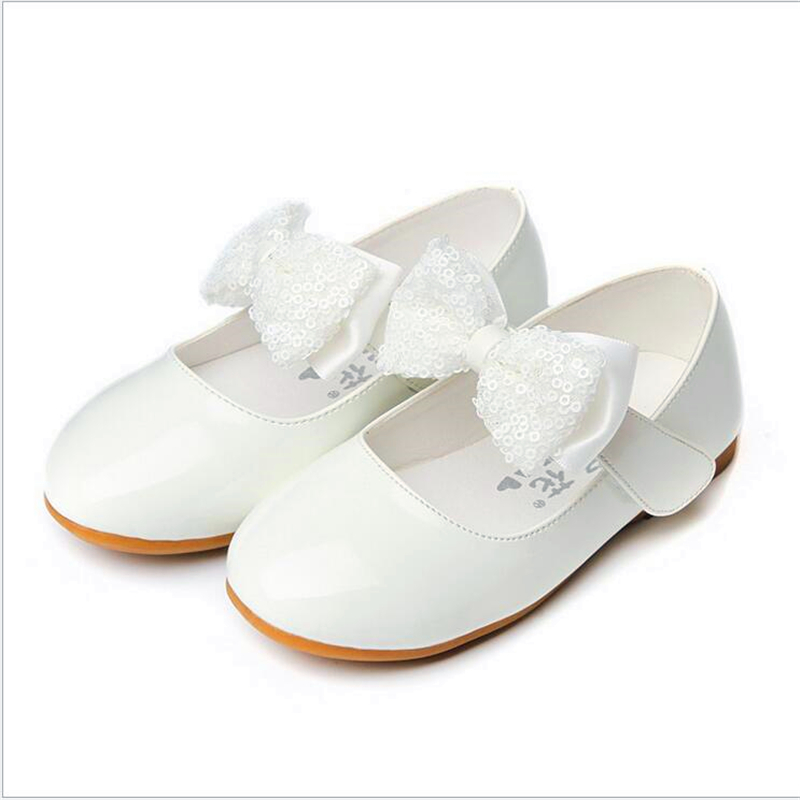 Hot sales Children Princess Shoes black red White Band Soft Sole PU Leather  Fashion Bowknot Bright skin Flower Girls Dress Shoes-in Sneakers from  Mother ... 2e58c9be6481